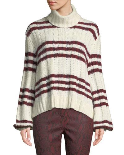 Zaira Striped Turtleneck Sweater