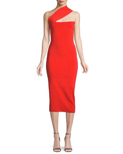 Vida One-Shoulder Bodycon Midi Dress