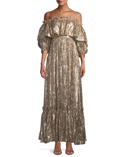 Tara Metallic Ruffle Off-Shoulder Maxi Dress