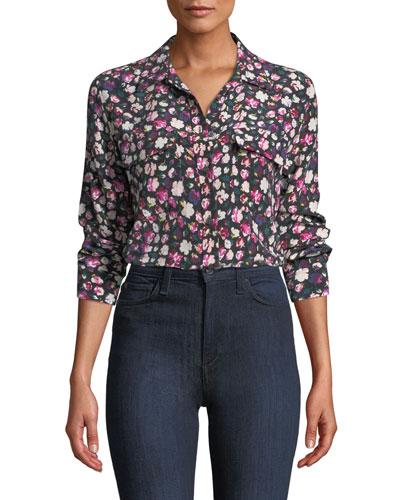 Slim Signature Button-Front Floral-Print Blouse