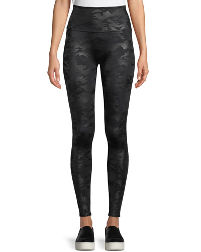 Camo-Print Faux-Leather Leggings