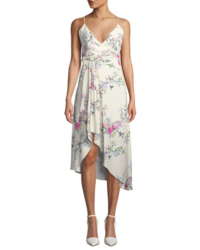 Estille V-Neck Sleeveless Floral-Print Wrap-Style Dress