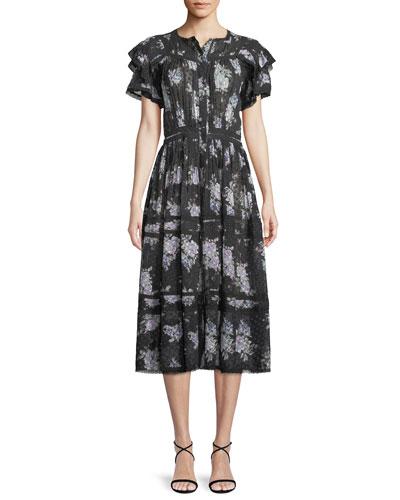663ac15257bb20 Claribel Floral Silk Lace Midi Dress