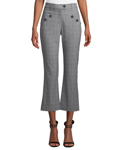 Leighton Plaid Cropped Pants with Button Details