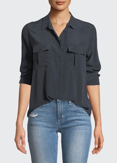 Rhett Button-Front Long-Sleeve Pocket Shirt