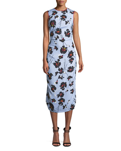 Floral-Print Sleeveless Midi Dress