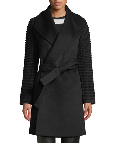 Mid-Length Ribbed-Sleeve Shawl-Collar Baby Alpaca Wrap Coat