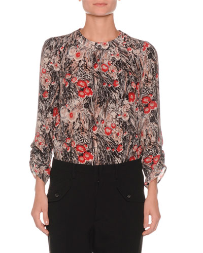 Floral-Print Ruched-Sleeve Silk Blouse