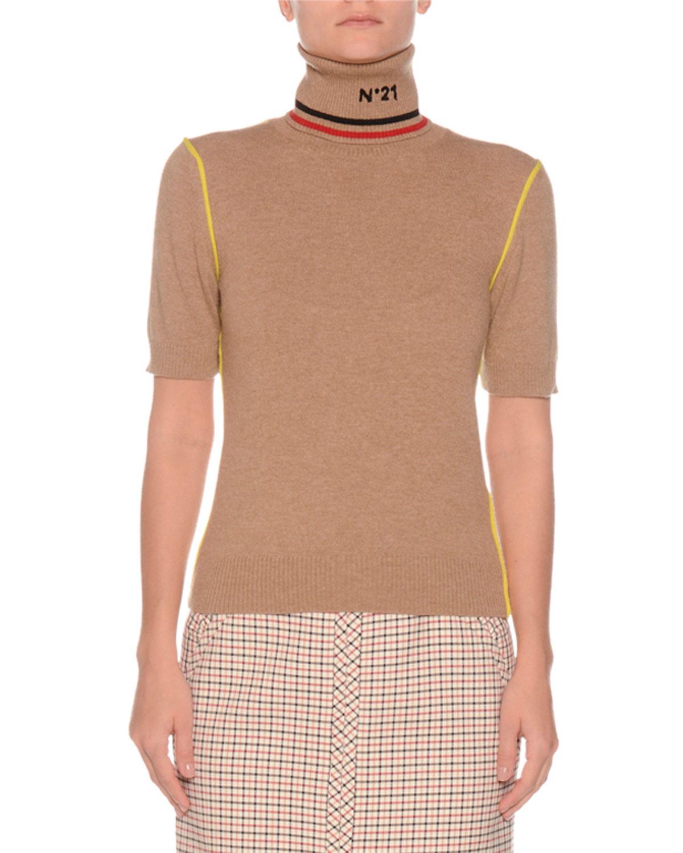 Short-Sleeve Graphic Turtleneck Wool Sweater