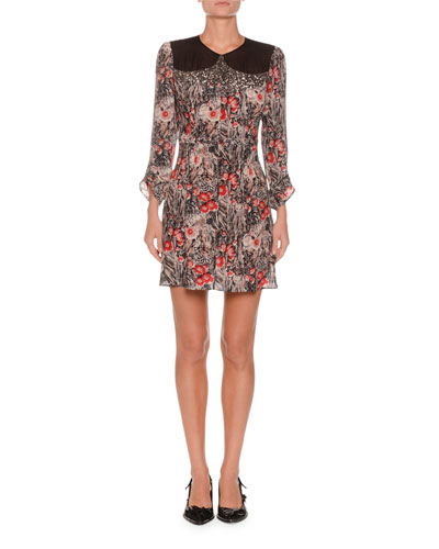 Jewel-Neck Ruched-Sleeve Floral-Print Silk Mini Dress w/ Cutout Back