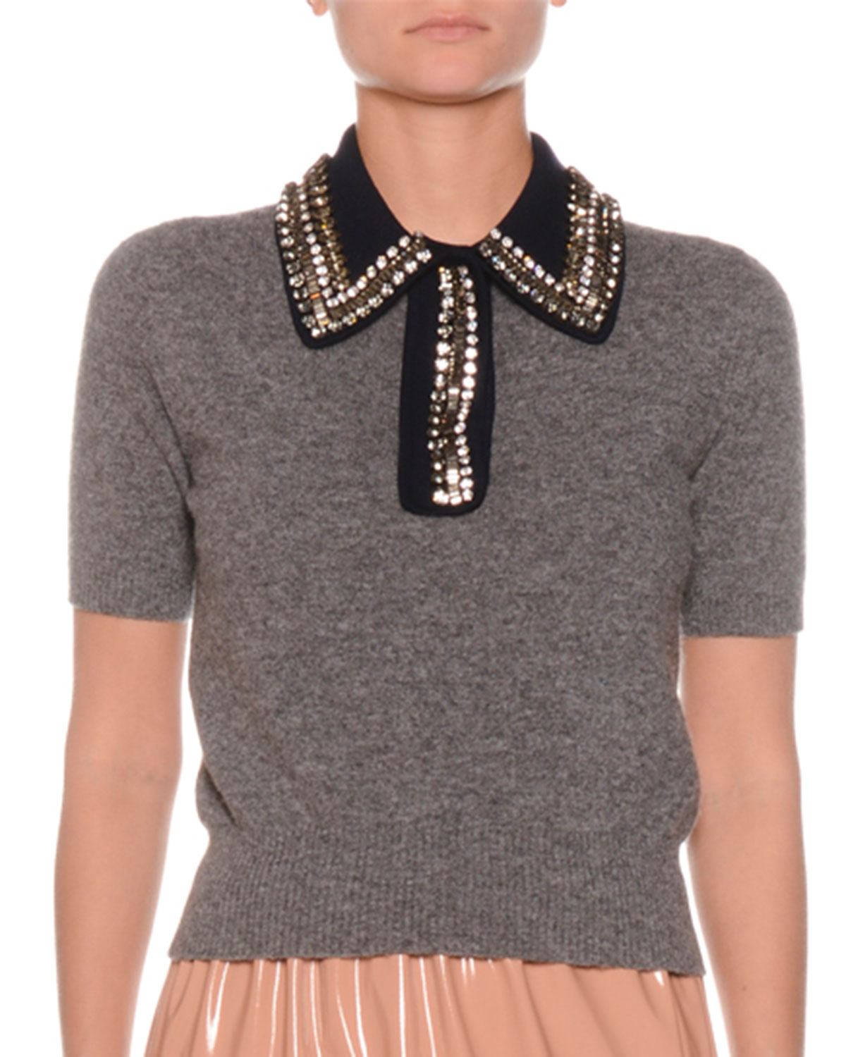 N°21 CROPPED SHORT-SLEEVE TOP WITH EMBELLISHED COLLAR