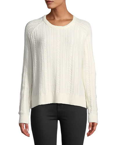 Cotton-Blend Cable-Knit Crewneck Sweater