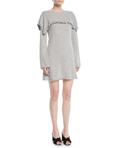 Long-Sleeve Crewneck Heathered Alpaca-Blend Mini Dress w/ Ruffled Trim