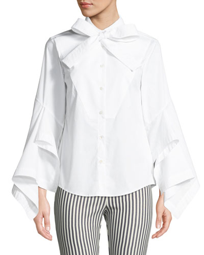Poplin Bow-Tie Button-Front Blouse