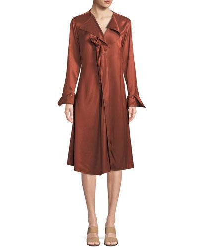 Dusk Twill Portrait-Neck Midi Dress