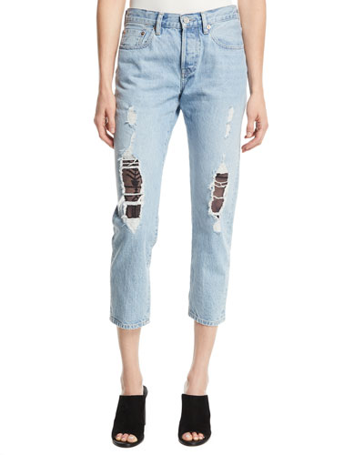 501 Cropped Taper Distressed Jeans