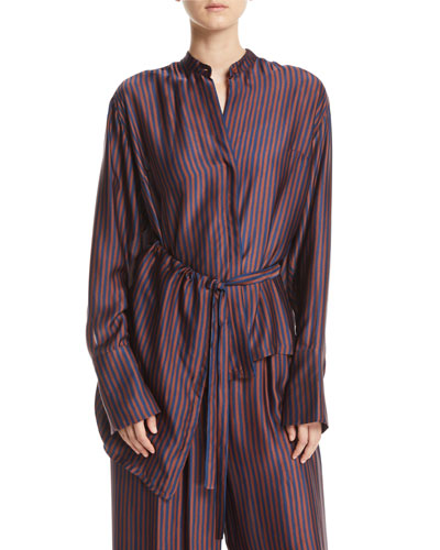 Tipha Striped Silk Belted Top