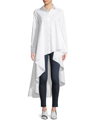 Super Button-Front Asymmetric Cotton Shirt