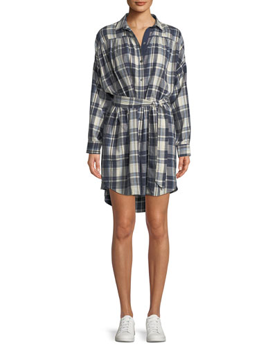 Long-Sleeve Button-Front Plaid Cotton Shirtdress