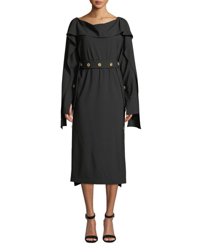 Cutout-Back Long-Sleeve Button Midi Dress