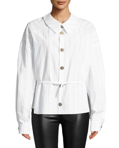 Back To Front Striped Button-Down Shirt