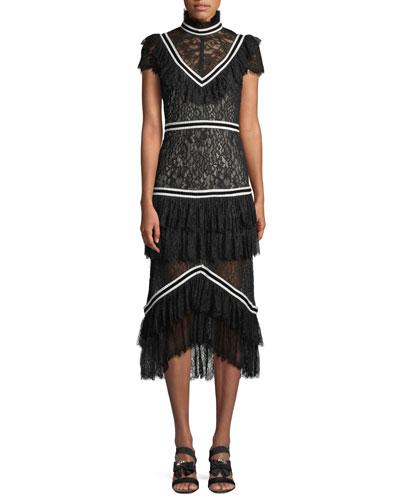 Annetta Tiered Turtleneck Lace Ruffle Midi Dress
