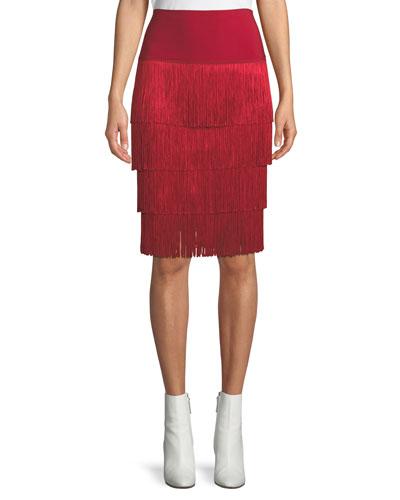 Jersey Skirt w/ Fringe Layers