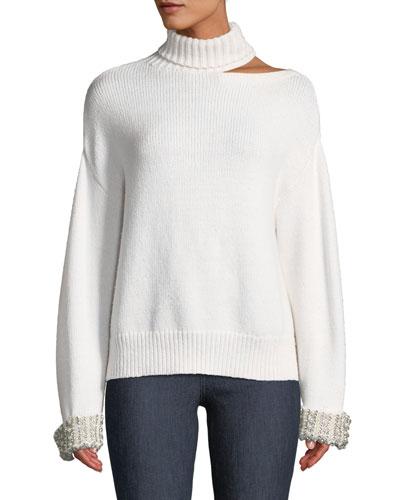 Gemini Shoulder-Cutout Embellished Turtleneck Sweater