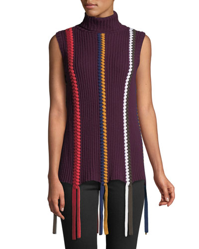e9066fb2ca7e0 Sleeveless Turtleneck Sweater with Braided Details