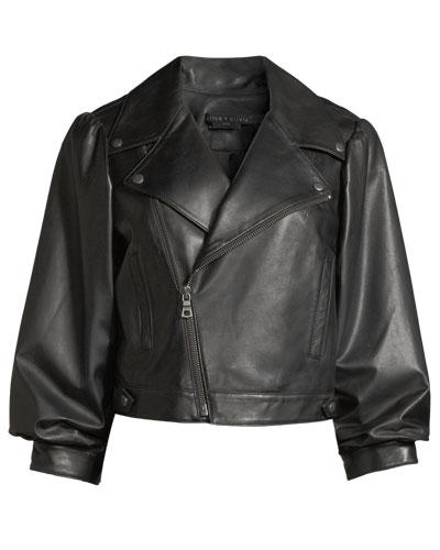 Arlo Gathered-Sleeve Leather Moto Jacket