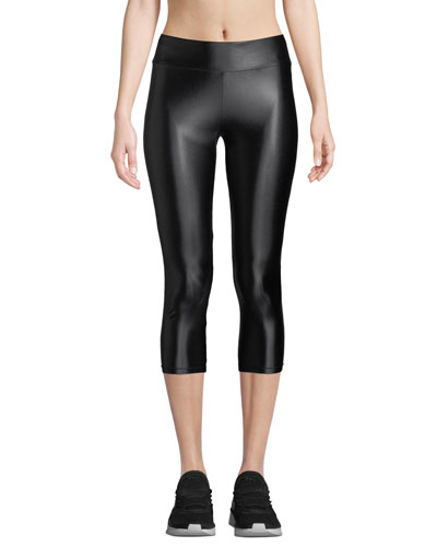 High-Waist Cropped Metallic Leggings