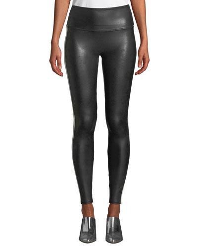 Faux-Leather Side-Stripe Leggings