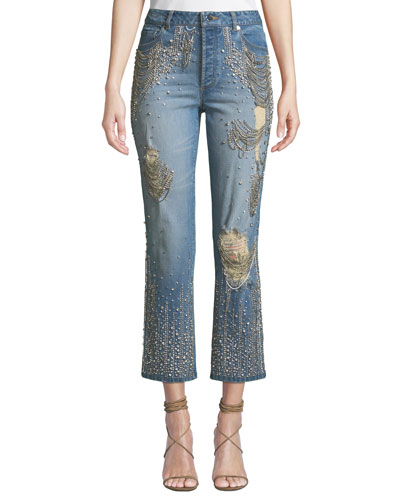 Amazing Embellished Ripped High-Rise Boyfriend Jeans