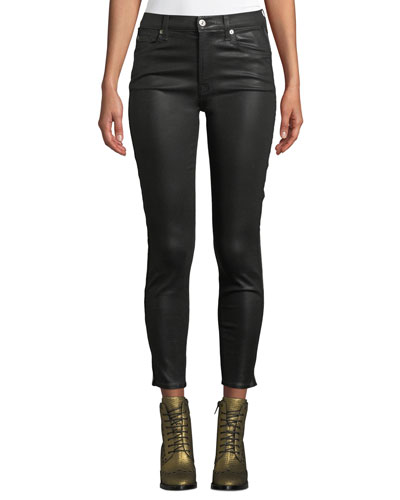 Coated High-Waist Ankle Skinny Jeans
