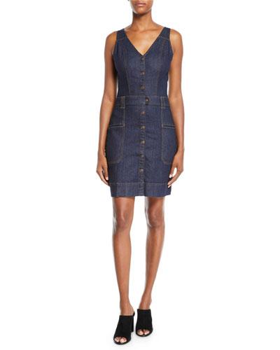 Utility Button-Front Sleeveless Denim Short Dress