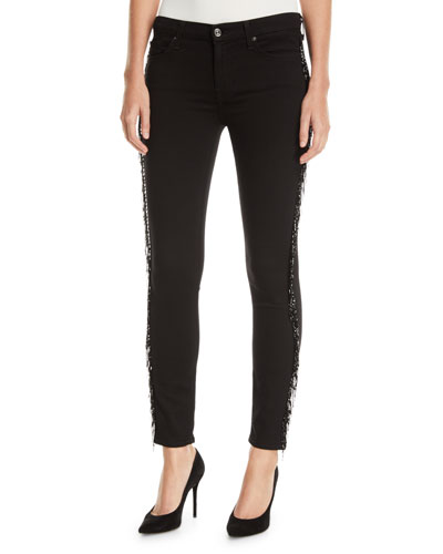 The Ankle Skinny Jeans with Metallic Fringe