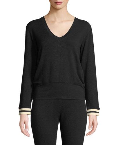 V-Neck Long-Sleeve Pullover Sweater