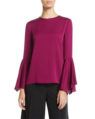 6a377a07930db6 Holly Jewel-Neck Flared-Sleeves Stretch-Silk Top Quick Look. Milly