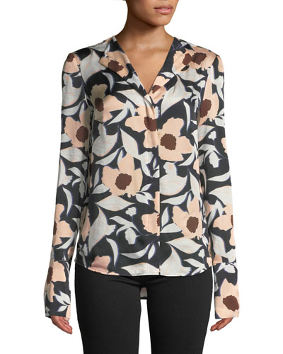 Tarani Floral Silk Charmeuse Button-Down Top