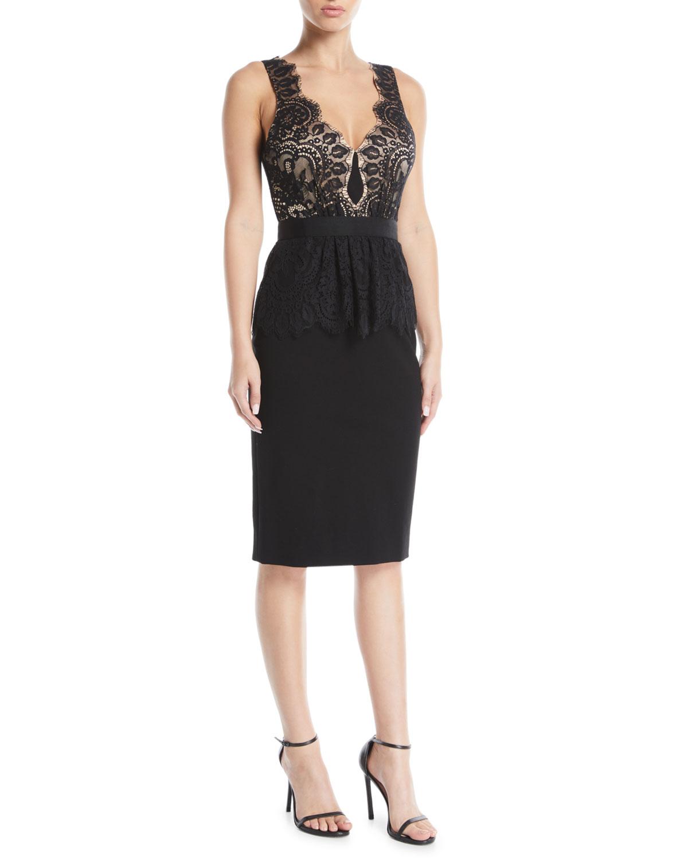 Lilah Racerback Dress in Lace & Ponte