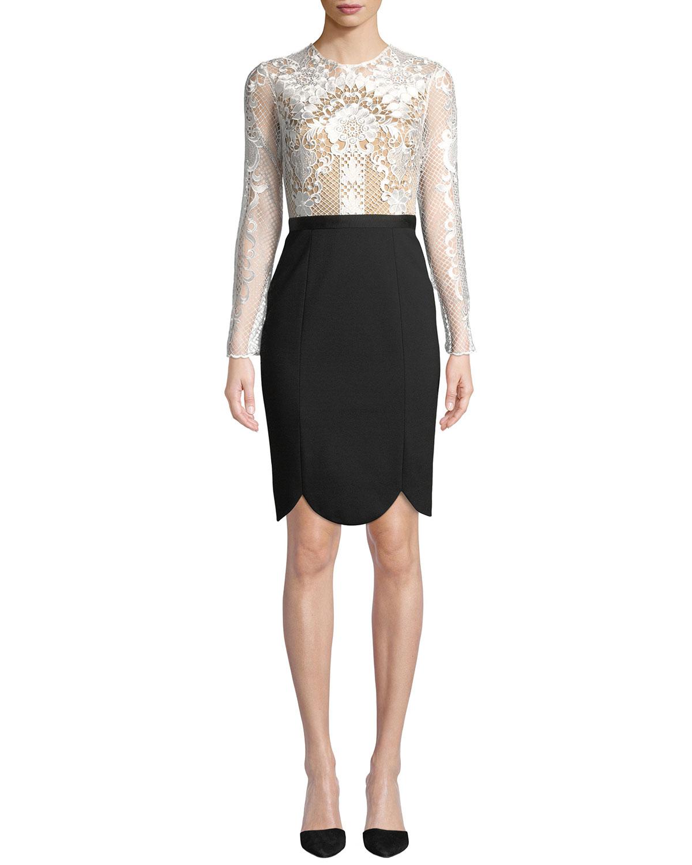 Latisha Long-Sleeve Dress w/ Lace & Ponte
