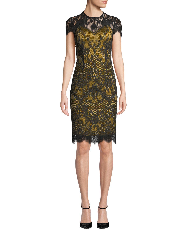 Libba Cap-Sleeve Lace Dress