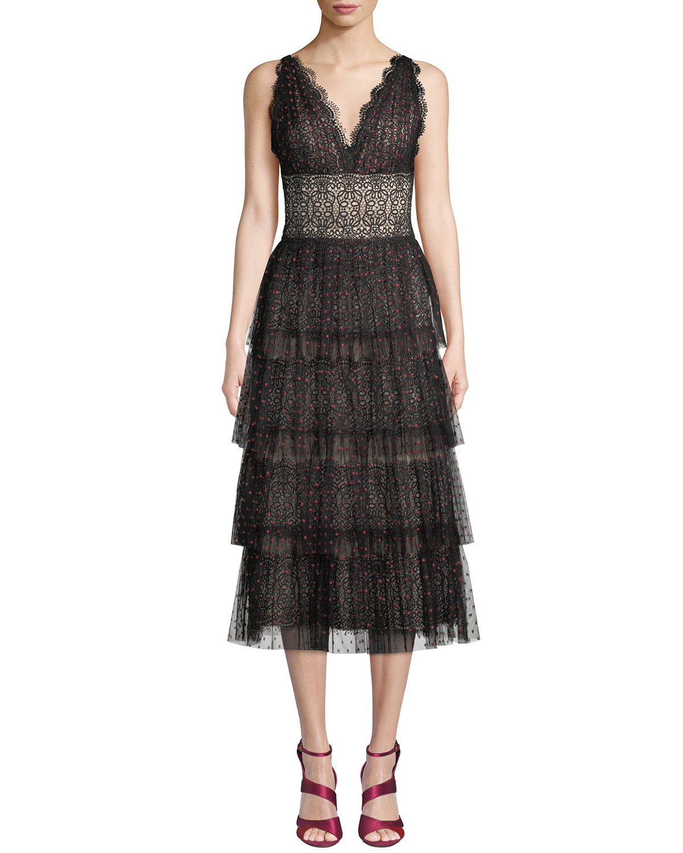 Lala Midi Dress w/ Tiered Tulle Skirt