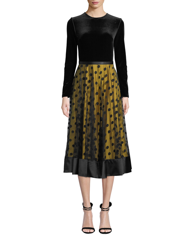 Louisa Midi Dress w/ Velvet & Tulle
