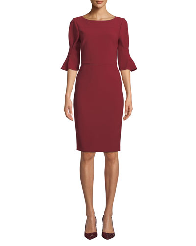 Pinched-Sleeve Sheath Dress