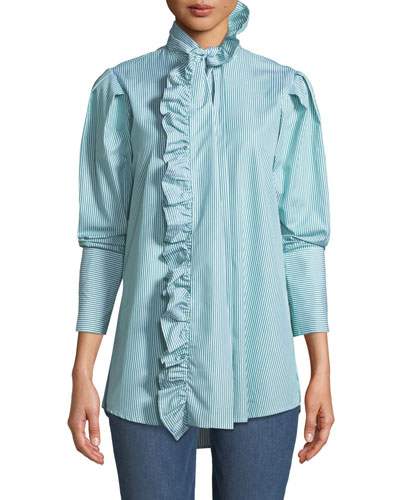 Second Nature Striped Ruffle Button-Down Shirt