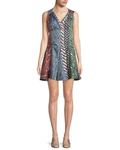 Mixed-Print Silk Flared Dress