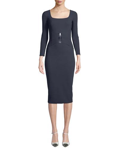 Humette Midi Dress w/ Front Zip