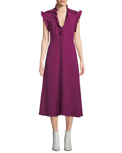Hurray Ruffle Split-Hem Midi Dress
