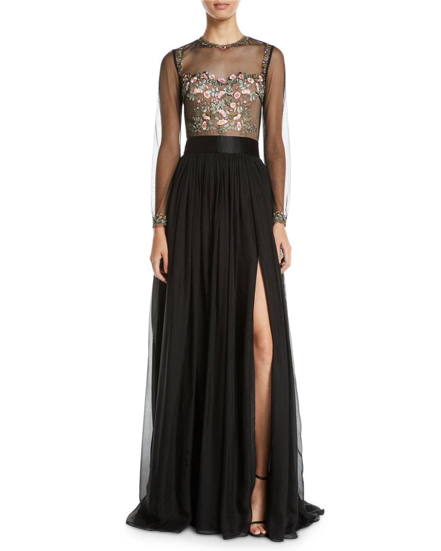 Leslie Embellished & Sheer Long-Sleeve Gown